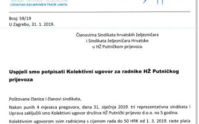 Uspjeli smo potpisati Kolektivni ugovor za radnike HŽ Putničkog prijevoza