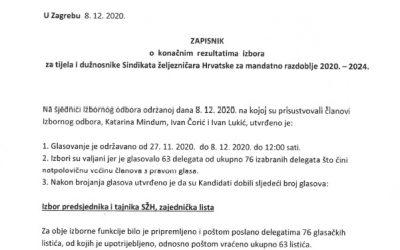 Rezultati izbora za dužnosnike i tijela Sindikata željezničara Hrvatske